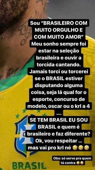 Neymar postagem sobre torcer e ser patriota